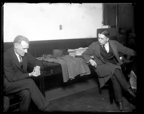 "Y. Kenley Smith, left, and Russian Count Zdzislaw ""Ted"" Glasko, husband of Wanda Stopa, together at the courthouse. According to Stopa's family, she was wooed into marriage by the Russian Count, but continued a relationship with Smith. Stopa was trying to divorce Glasko and pleaded with Smith to divorce his wife, Genevieve. When Smith refused, she went to his Palos Park home intending to shoot them both. Missing Genevieve, Stopa shot and killed the gardener by accident."