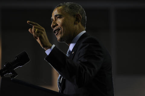 President Barack Obama, makes a point while delivering his speech.