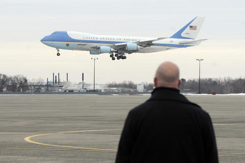 Air Force One lands at Bradley International Airport with President Barack Obama, and the Connecticut Congressional congregation on board.