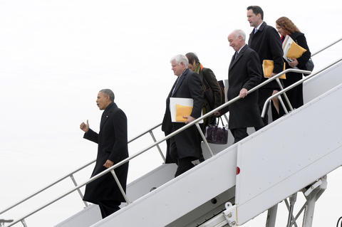 East Granby, CT 3/4/2014 President Barack Obama, gets off Air Force One with, from left,Rep. John Larson, Rep. Rosa DaLauro, Rep. Joe Courtney, Rep. Jim Himes (D-4) and Rep. Elizabeth Esty. President Barack Obama, traveled to Connecticut Wednesday, to speak to an audience at William Detrick Gymnasium in Kaiser Hall on the Central Connecticut State University in New Britain to promote his plan to raise the national minimum wage. Obama flew into Bradley Air National Guard Base on Air Force One, and took his motorcade to CCSU. RICHARD MESSINA | rmessina@courant.com