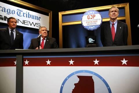 State Sen. Bill Brady, left, State Sen. Kirk Dillard, center, and Bruce Rauner prepare for an Illinois Republican gubernatorial debate at WGN-TV.