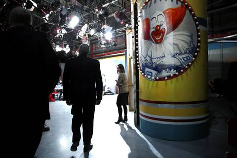 State Sen. Kirk Dillard looks at a studio formerly used for the Bozo Show at WGN-TV following an Illinois Republican gubernatorial debate.
