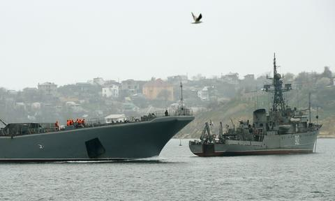 Russian Navy ships block the entrance to the Crimean port of Sevastopol on March 7.