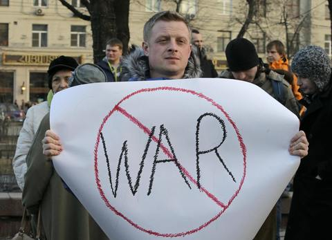 People hold an anti-war protest in central Moscow on March 7.