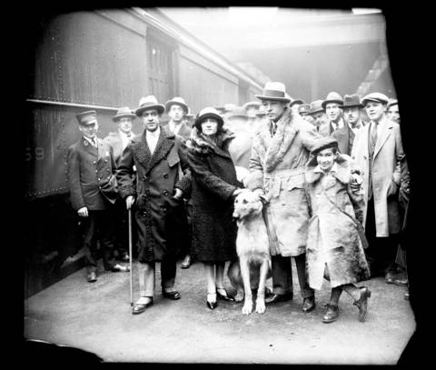 Rudolph Valentino with his Irish Wolfhound, Centaur Pendragon, his brother Alberto Guglielmi (left), sister-in-law Ada and nephew Jean, 7, in Chicago. Guglielmi was Valentino's older brother. Upon his death, Valentino's entire estate was left to his nephew. It was an unsubstantiated rumor that the boy was actually Valentino's son, being raised by his brother.