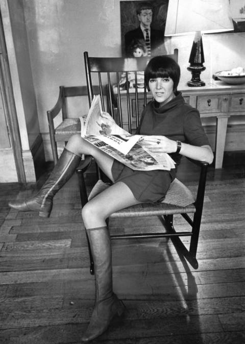 """Mary Quant, the leggy, sexy London fashion designer, was her own best model for the miniskirts that dressed the decade."" Quant named the brief skirt mini after her favorite car, the Mini Cooper."