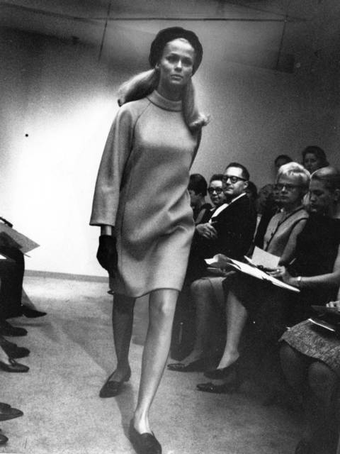 """Tiffeau's sweater dress."" On the runway in New York. Recognize Lauren Hutton?"