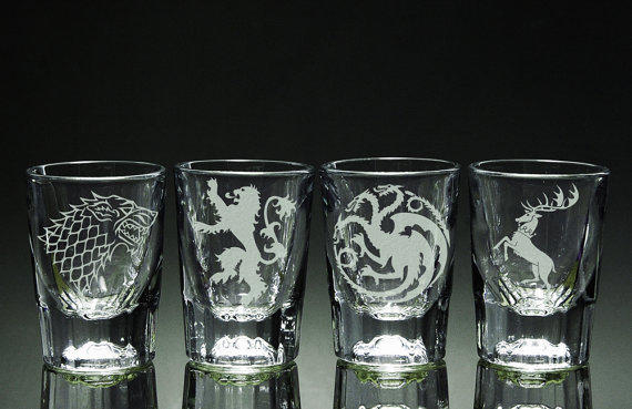 """Game of Thrones"" shot glasses. Set of four on Etsy.com, $29.95."