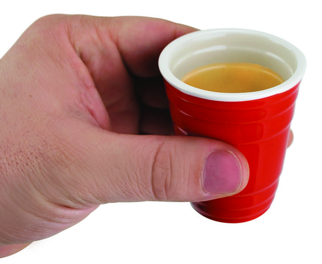 Red cup shot glasses. Set of four at Webhobbyshop.com, $9.99.