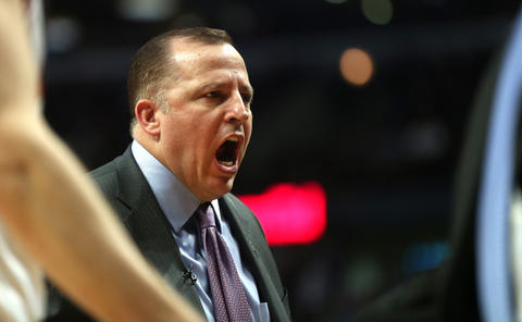 Bulls coach Tom Thibodeau yells at his players in the first half.