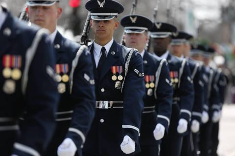 The United States Air Force Honor Guard marches in the St. Patrick's Day Parade on Columbus Drive, in Chicago.