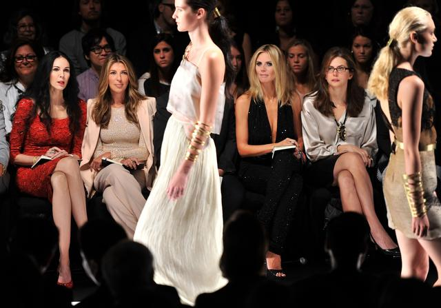 "Judges L'Wren Scott, Nina Garcia, Heidi Klum and Desiree Gruber attend the ""Project Runway"" spring 2012 fashion show in 2011 in New York City."