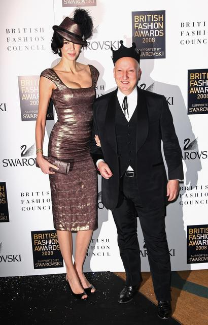 Designer L'Wren Scott and Steven Jones attend the British Fashion Awards held at the Lawrence Hall on Nov. 25, 2008, in London.