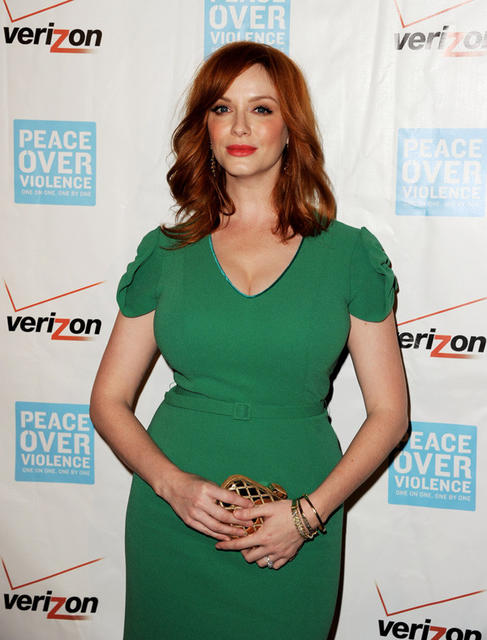 Actress Christina Hendricks is seen in a L'Wren Scott dress at the Peace Over Violence Humanitarian Awards in 2012.