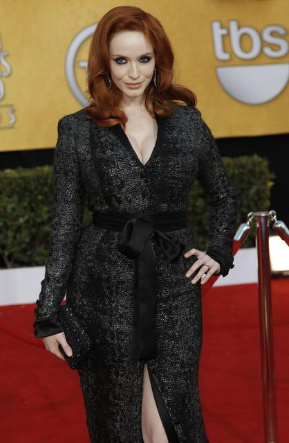Christina Hendricks in Scott's belted, black-sequin tuxedo robe at the 2011 Screen Actors Guild Awards.