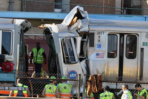 Over 30 people were taken to hospitals after a Blue Line CTA train ran head-on into another train that was stopped at a station in Forest Park.