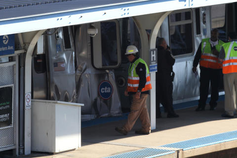Two CTA trains collided on the Blue Line in Forest Park this morning, officials said.