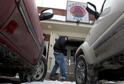 Through the heavy snow that fell on the area Tuesday night the Yorktown Pub was one of the few eateries to remain open in the area.