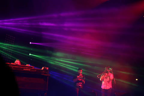 Members of Pretty Lights perform at the Hampton Coliseum Friday evening. Pretty Lights headlined the sold out show with Bassnectar.