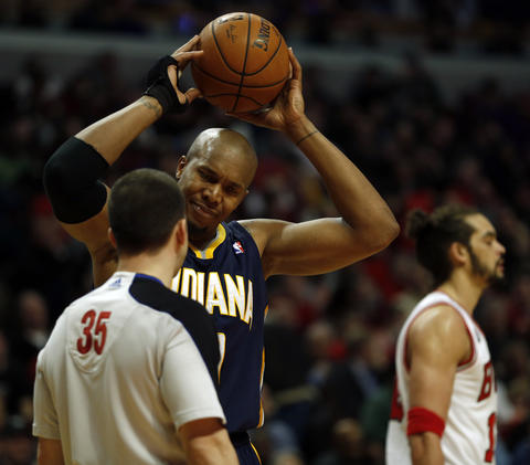 The Pacers' David West complains about a foul call.