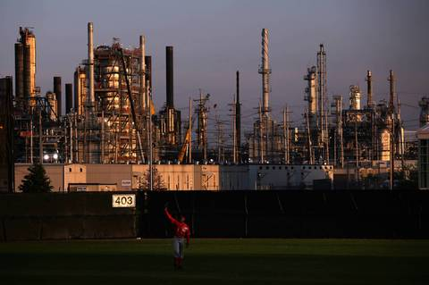 View from Oil City Stadium in the shadow of the BP refinery in Whiting, Ind. Tuesday June 18, 2013.