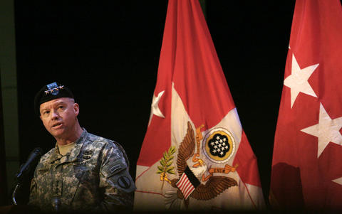 General David G. Perkins is the Incoming Commander at the Army Training and Doctrine Command headquarters at Fort Eustis; here, he gives remarks at the change of command ceremony.