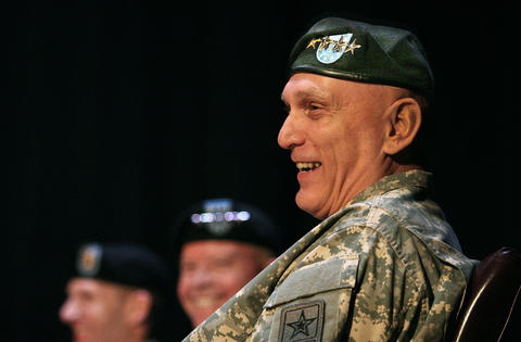 At the Army Training and Doctrine Command headquarters at Fort Eustis, a change of command ceremony was held and hosted by General Raymond T. Odierno, Chief of Staff of the U.S. Army, shown here laughing at remarks made by Outgoing Commander General Robert W. Cone.