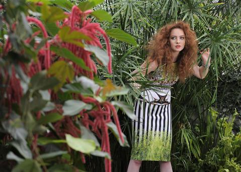 Clover Canyon dress, Trillium, $270. L.K. Bennett heels, Sassanova, $395