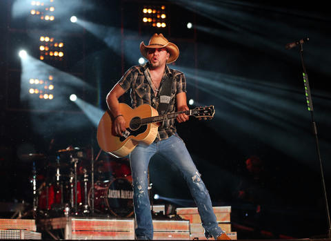 "Jason Aldean (July 20, 2013): Rain also pelted Aldean's concert, but he powered through without interruption, aided by turbo-charged guitars that rivaled Pearl Jam in the volume department. The singer augmented his country-rock (emphasis on ""rock"") with pyro, fireworks and even rap. The opener, Kelly Clarkson, didn't offer much in the way of country either, sticking to her post-""American Idol"" pop hits, though she did take a stab at Mumford & Sons' ""I Will Wait."" - Greg Kot"