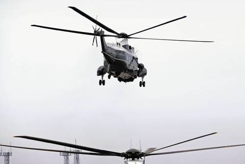 Presidential helicopters depart O'Hare International Airport for downtown Chicago. President Barack Obama was in town to attend fundraisers for the Democratic National Committee.
