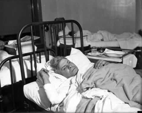 Cement worker Albert Martino recovers at St. Anthony's Hospital. Martino testified later that he heard an explosion in the tunnel around 6:30 on Monday evening. He said he found a light flame in the tunnel and vainly tried to extinguish it and notified other laborers and officials.