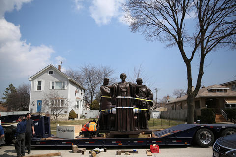 The University of Illinois' Alma Mater sculpture is prepared to be returned to campus on Tuesday, after restoration work at Conservation of Sculpture Studio in Forest Park.