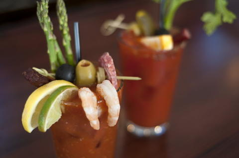 Bloody Marys assembled for brunch at Commonwealth Tavern