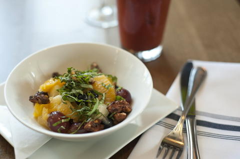 The mint and basil fruit salad, a side dish option on the brunch menu at Commonwealth Tavern