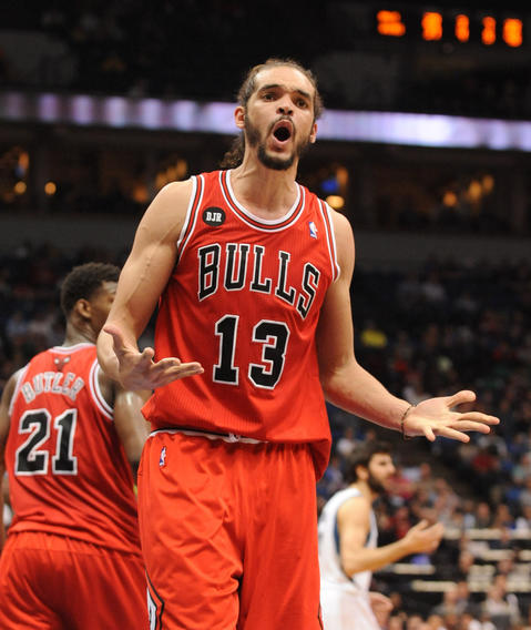 Joakim Noah reacts to a call in the fourth quarter against the Timberwolves.