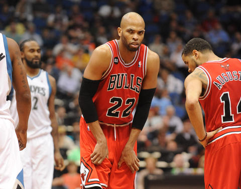 Taj Gibson reacts to a call in the second half.