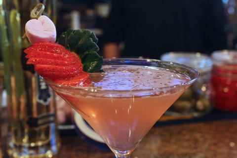 Price: $9  Ingredients: Purity vodka, Grand Marnier raspberry peach, cranberry juice, prosecco  Available the week of Valentine's Day, this martini named after the top-shelf vodka it uses, which is refreshing and just a bit sweet.