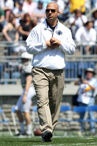Penn State Nittany Lions head coach James Franklin walks on the field prior to the Blue White spring game at Beaver Stadium.