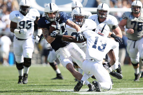 Penn State Nittany Lions wide receiver Matt Zanellato (80) runs with the ball in the fourth quarter of the Blue White spring game at Beaver Stadium. The Blue team defeated the White team 37-0.