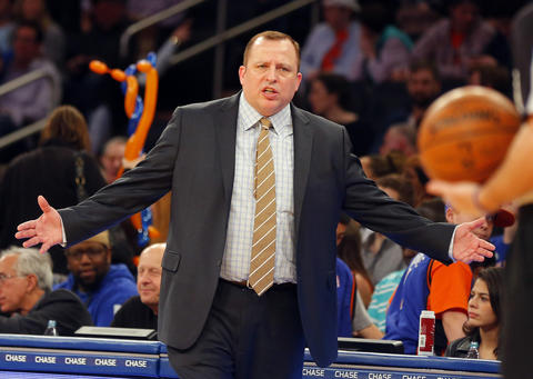 Bulls coach Tom Thibodeau reacts during the first half.