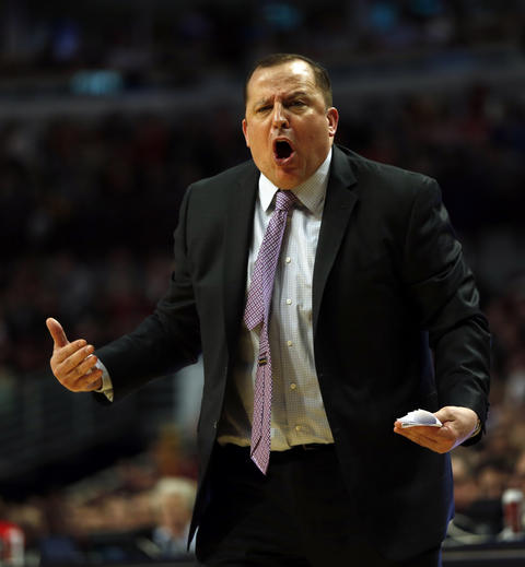 Coach Tom Thibodeau reacts to an official's call during 2nd quarter.