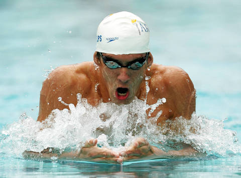 Michael Phelps swims in the 400 individual medley at the Santa Clara XXXVII International swim meet.