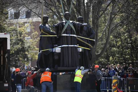 The University of Illinois' Alma Mater sculpture is returned to campus after restoration work.