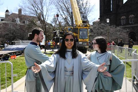 U. of I. students Kevin Marks, Katie Chan and Claire Curtin have been portraying the University of Illinois' Alma Mater sculpture since it was removed from campus 19 months ago for restoration work,