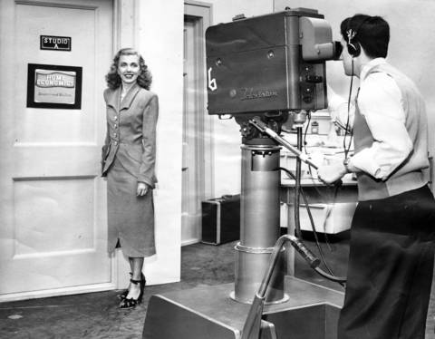 Angel Casey, Chicago model and radio actress, in front of the camera for WGN-TV, circa April 4, 1948.