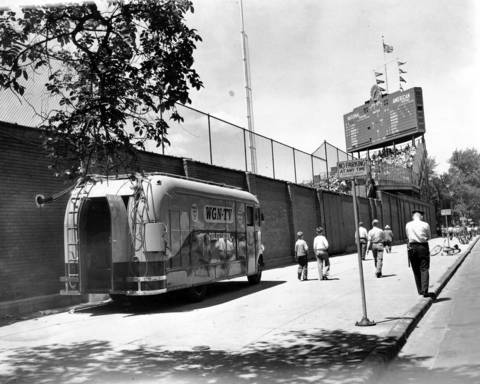 A WGN-TV mobile unit is parked outside Wrigley Field for a Cubs game, circa May 8, 1949.