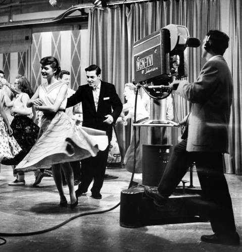 Peppy Wonso of Agnes McDonald High School and Bob Dipper of Evergreen Park High dance for the television cameras on May 29, 1956, during Bandstand Matinee, a WGN-TV rock 'n' roll program.