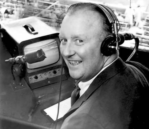 Jack Brickhouse at the WGN-TV microphone during a White Sox game, circa July 30, 1967.