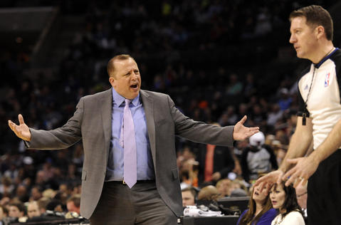 Bulls coach Tom Thibodeau complains to the referee during the first half.