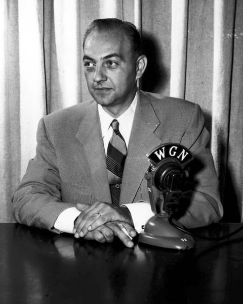 Spencer Allen, seen here in 1953, was the first news director for WGN-TV when they started in 1948. Allen had been a WGN Radio news reporter and writer since 1938.